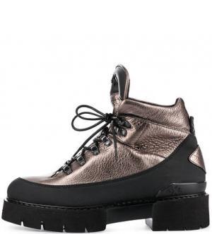 Золотистые ботинки на толстой подошве O.X.S.. Цвет: золотистый
