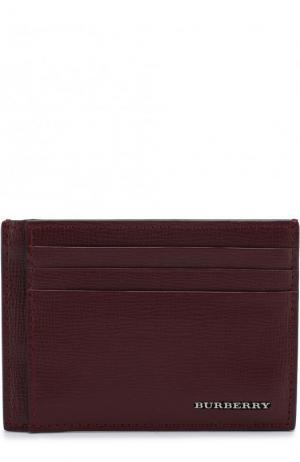 Кожаный футляр для кредитных карт с зажимом купюр Burberry. Цвет: бордовый
