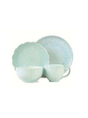 Набор 4 предмета голубой Жар-птица Elff Ceramics. Цвет: голубой, сиреневый, белый