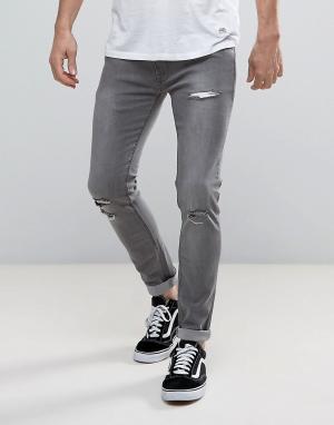 Soul Star Рваные эластичные джинсы скинни. Цвет: серый