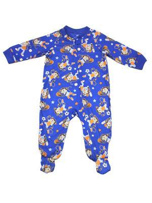Комбинезон для сна Спортивные мартышки Little Me. Цвет: синий