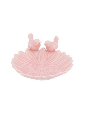 Блюдо Птички на цветке Elan Gallery. Цвет: розовый