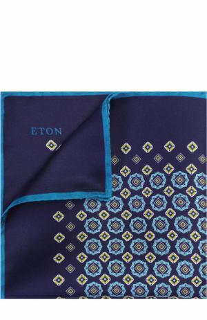 Шелковый платок с принтом Eton. Цвет: темно-синий