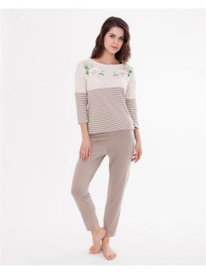 Комплект одежды: лонгслив, бриджи Mark Formelle. Цвет: светло-коричневый, темно-бежевый, молочный