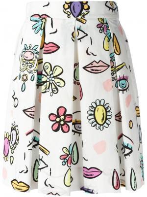 Плиссированная юбка с принтом Boutique Moschino. Цвет: белый