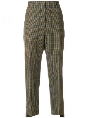 Прямые клетчатые брюки Golden Goose Deluxe Brand. Цвет: зелёный