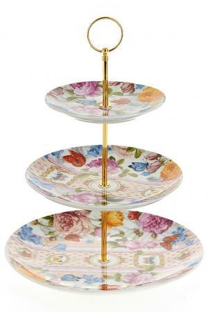 Блюдо, 25,5 см,20 см,15 см Nouvelle. Цвет: белый, розовый, зеленый