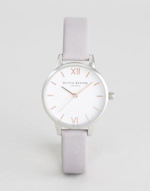 Olivia Burton Серо-сиреневые часы со средним циферблатом и кожаным ремешком B. Цвет: серый