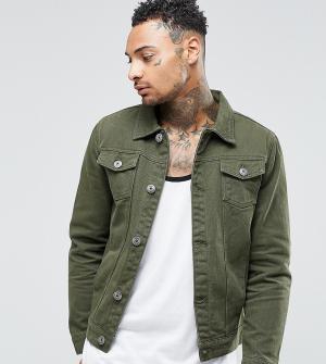 Liquor N Poker Джинсовая куртка цвета хаки. Цвет: зеленый