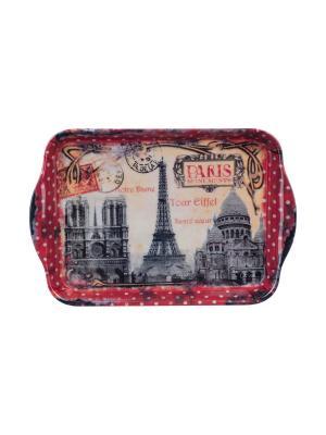 Поднос кухонный 21 х 14 см,  Памятники Парижа Orval. Цвет: серый, красный, желтый