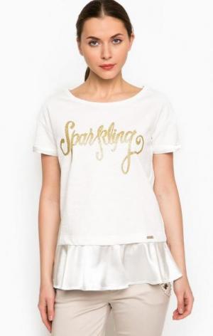 Белый свитшот с золотистым принтом Liu Jo Sport. Цвет: белый