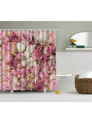 Фотоштора для ванной Цветочная феерия, 180*200 см Magic Lady. Цвет: красный, молочный, розовый