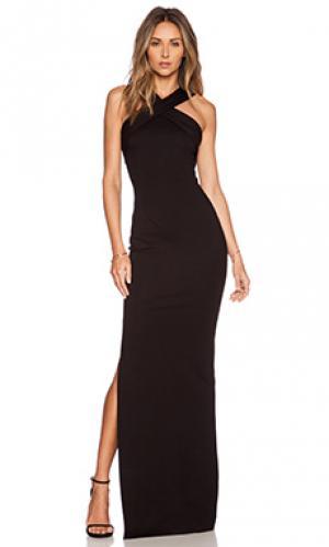 Вечернее платье из понте с переплетом спереди NICHOLAS. Цвет: черный