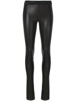 Эластичные кожаные брюки Drome. Цвет: чёрный