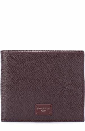 Кожаное портмоне с отделениями для кредитных карт Dolce & Gabbana. Цвет: бордовый