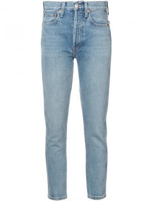Укороченные облегающие джинсы Re/Done. Цвет: синий