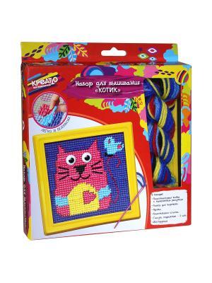 Набор для вышивания Котик КРЕАТТО. Цвет: красный, желтый, розовый, фиолетовый
