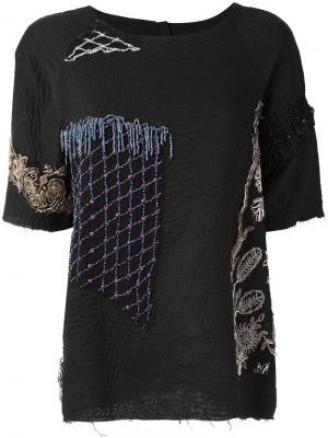 Декорированная футболка By Walid. Цвет: чёрный