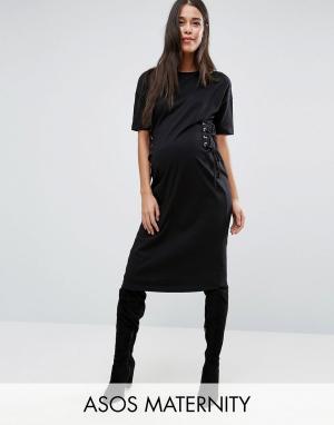 ASOS Maternity Платье-футболка миди для беременных. Цвет: черный