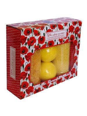 Spa by Lara Набор: Соль для ванн, жемчужины 2 бурлящих шара, Ромашка. Цвет: желтый