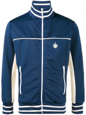 Спортивная куртка с контрастными полосками Palm Angels. Цвет: синий