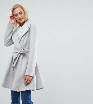 ASOS Tall Короткое приталенное пальто с поясом и большим воротником. Цвет: серый