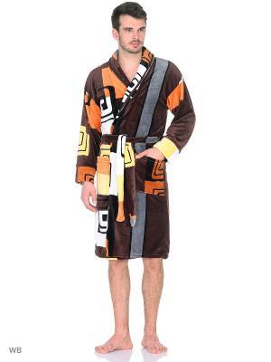 Халат из велсофта NAGOTEX. Цвет: коричневый, белый, оранжевый