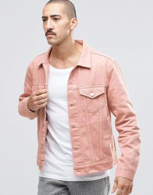 Weekday Розовая джинсовая куртка узкого кроя Single. Цвет: розовый