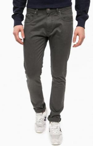 Зауженные серые брюки из хлопка ALCOTT. Цвет: серый