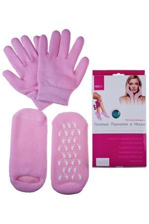 Увлажняющие перчатки и носки Medolla. Цвет: светло-розовый