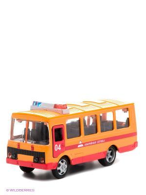Машина Паз 3205 Технопарк. Цвет: оранжевый, красный