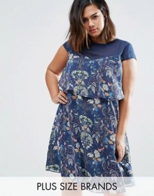 Koko Платье-трапеция с сетчатой вставкой и оборкой Plus. Цвет: темно-синий