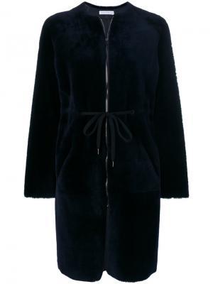 Fur detail coat Inès & Maréchal. Цвет: синий