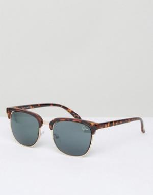 Quay Australia Черепаховые солнцезащитные очки в стиле ретро Flint. Цвет: коричневый
