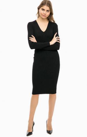 Черное трикотажное платье с длинными рукавами MICHAEL Kors. Цвет: черный