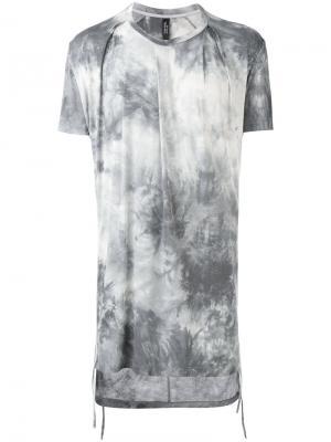 Удлиненная футболка с градиентным принтом Tom Rebl. Цвет: серый