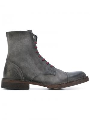 Contrast lace-up ankle boots Diesel. Цвет: серый