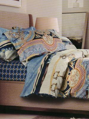 Комплект постельного белья Sofi de Marko. Цвет: голубой, желтый, коричневый
