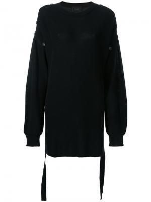 Удлиненный джемпер с пуговицами G.V.G.V.. Цвет: чёрный