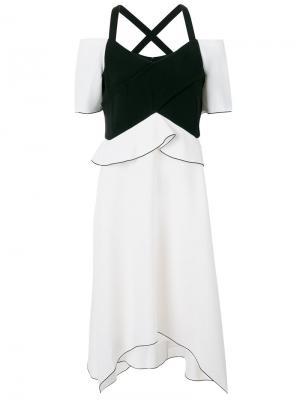 Асимметричное платье с открытыми плечами Proenza Schouler. Цвет: белый