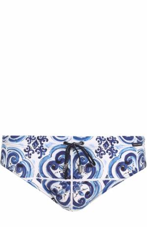 Плавки с принтом Dolce & Gabbana. Цвет: голубой