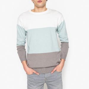 Пуловер в полоску с круглым вырезом из тонкого трикотажа La Redoute Collections. Цвет: в полоску голубой/белый