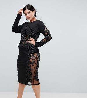 A Star Is Born Plus Декорированное платье с длинными рукавами. Цвет: черный