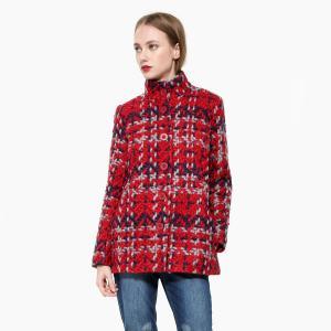 Пальто в клетку средней длины DESIGUAL. Цвет: красный