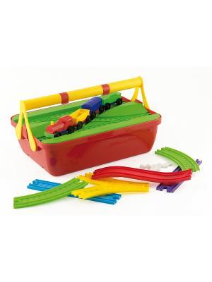 Конструктор - Ж/Д Quercetti. Цвет: красный, желтый, белый, черный, синий, зеленый