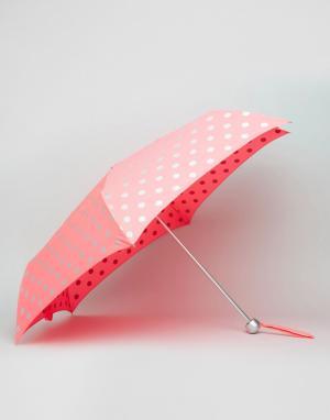 Cath Kidston Легкий зонт с принтом в горошек. Цвет: розовый