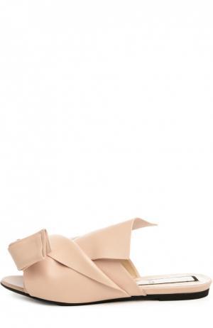 Кожаные шлепанцы с декоративным узлом No. 21. Цвет: бежевый
