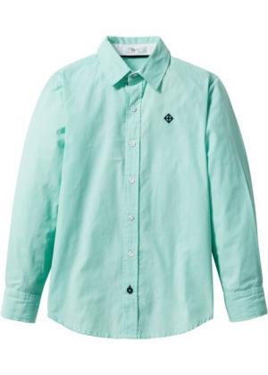 Рубашка (белый/синий ментол в полоску) bonprix. Цвет: белый/синий ментол в полоску