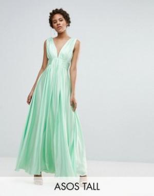 Fame and Partners Tall Платье макси с вырезом на спине Valencia. Цвет: зеленый