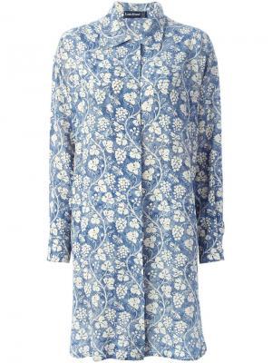 Платье-рубашка с принтом винограда Louis Feraud Vintage. Цвет: синий